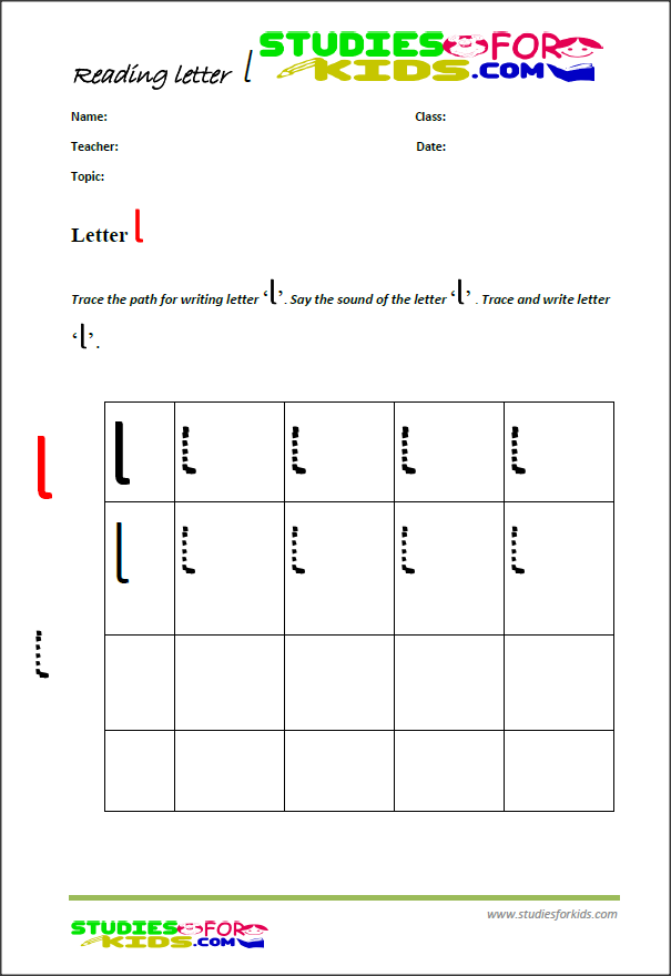 ABc writing worksheets letter L printable PDF