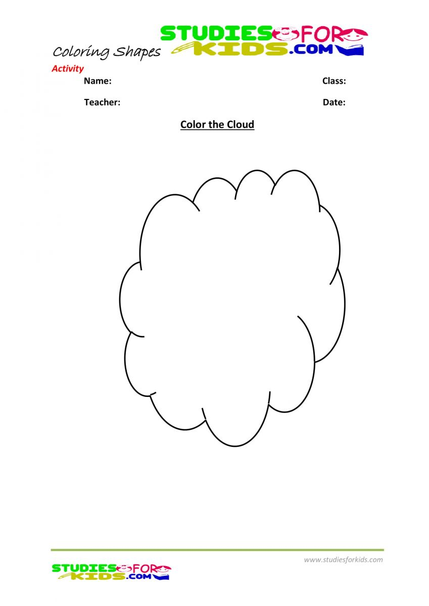 shapes coloring pages kindergarten- cloud