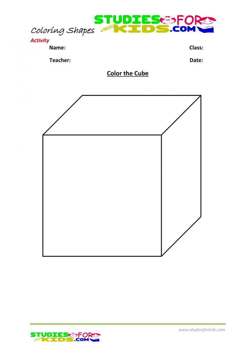 geometric shapes coloring pages kindergarten- cube