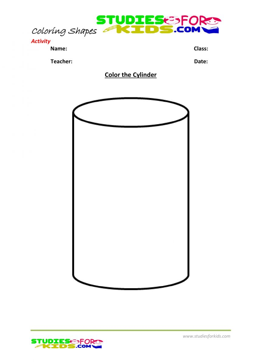 Preschool shapes coloring pages pdf- Cylinder