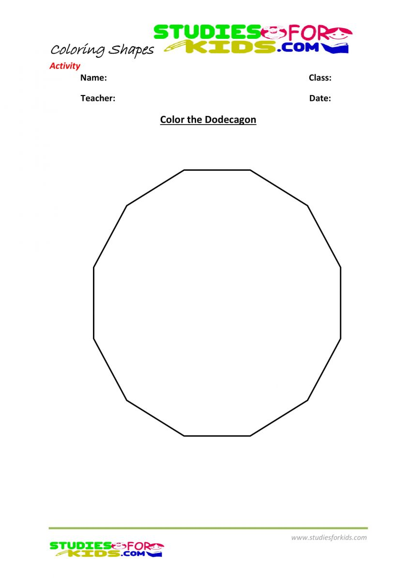 Preschool shapes coloring pages pdf- Dodecagon