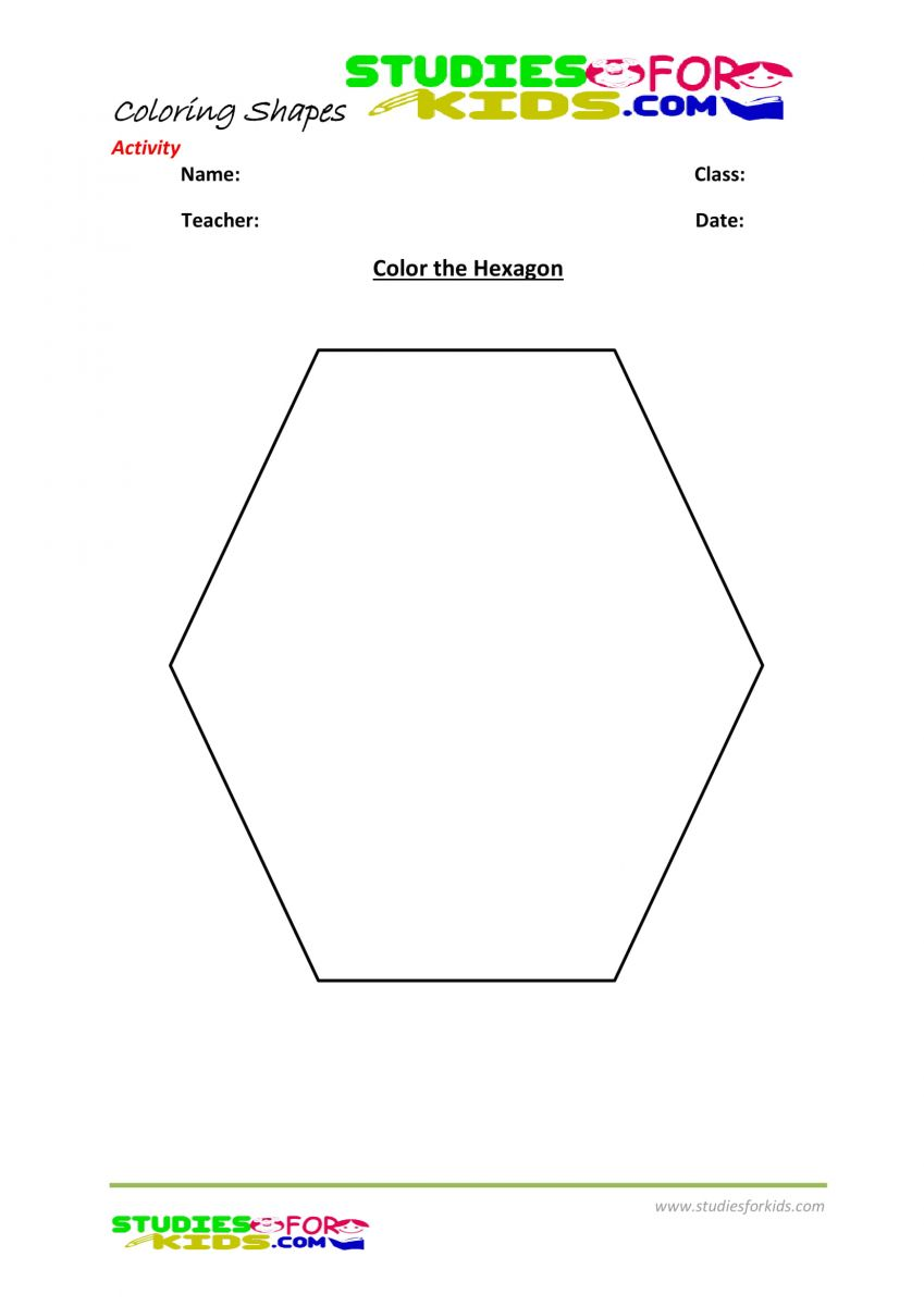 Preschool shapes coloring pages pdf- Hexagon