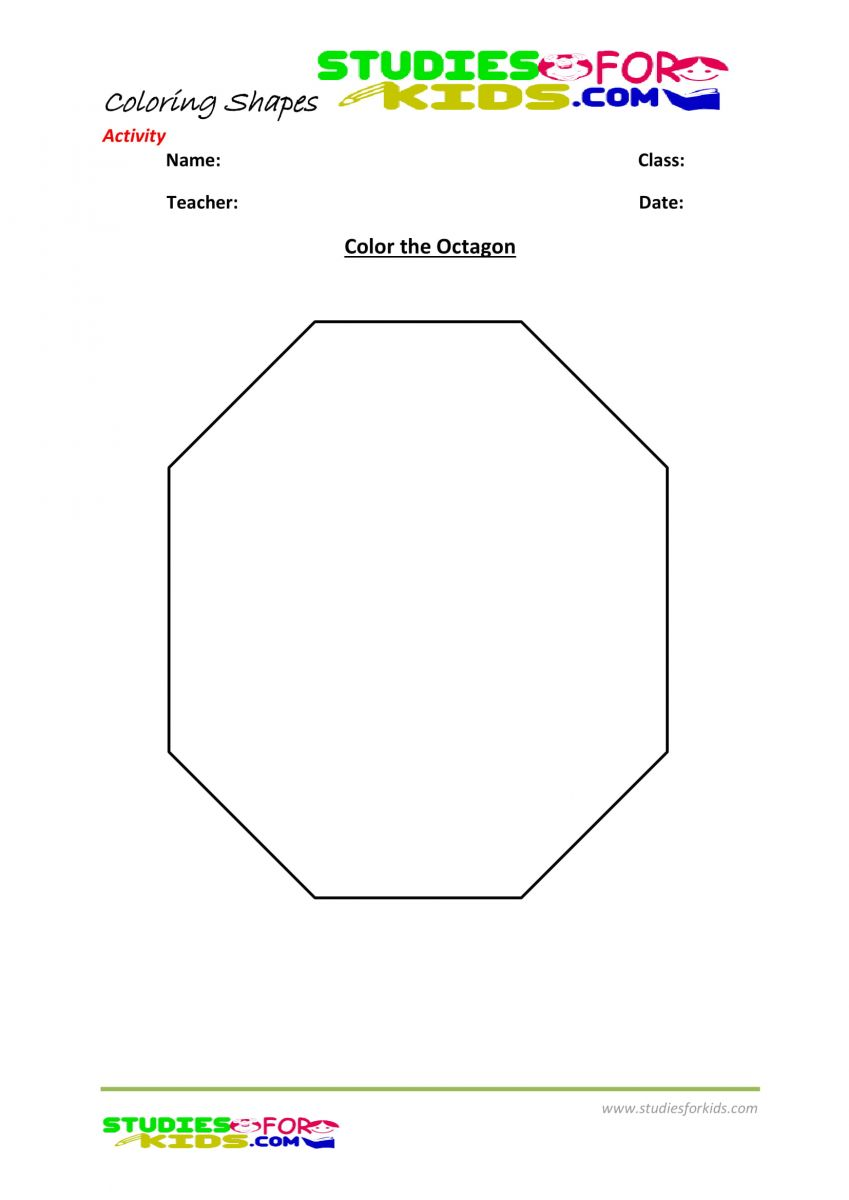 Preschool shapes coloring pages pdf- Color the Octagon