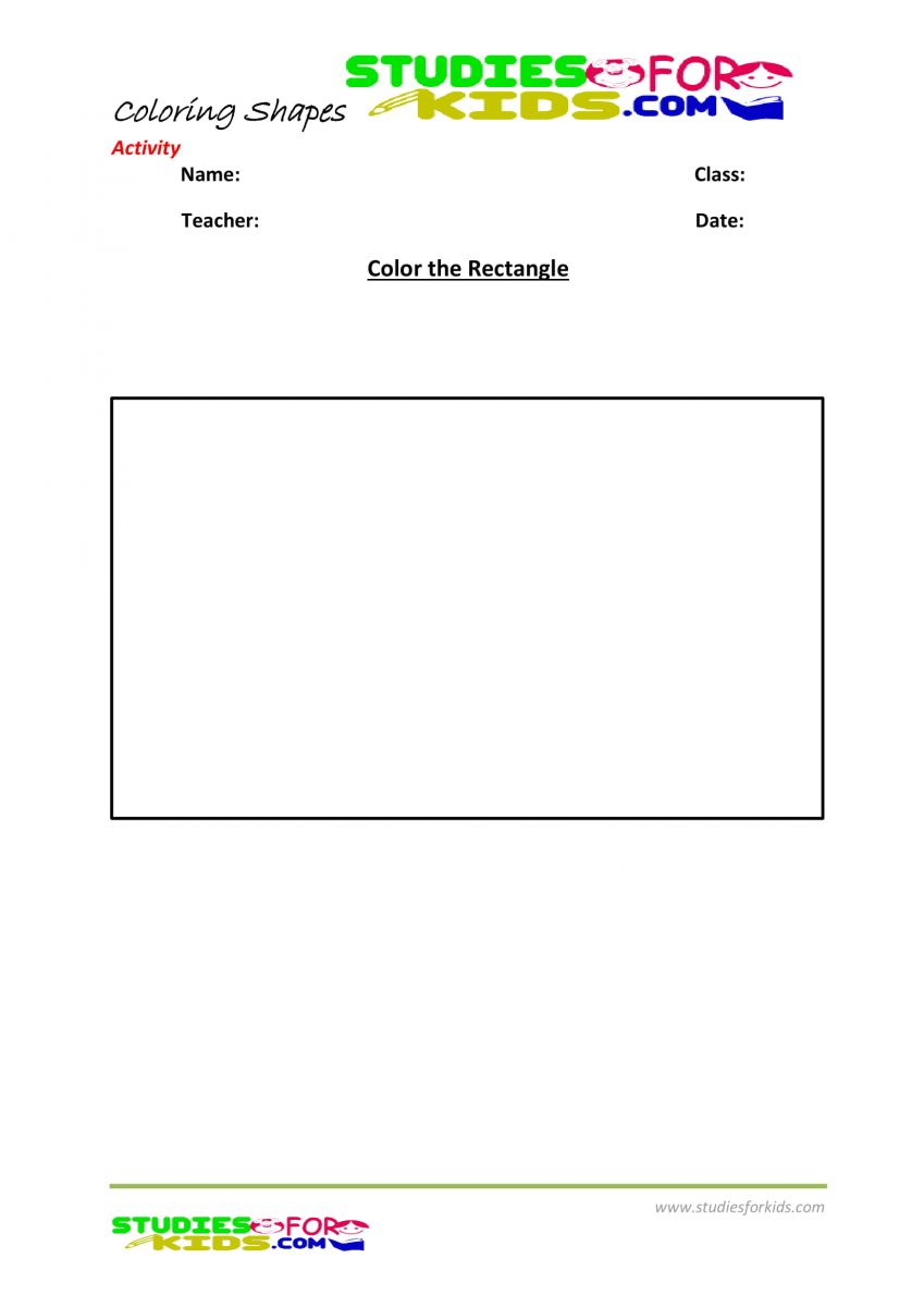 Kindergarten shapes coloring pages pdf- rectangle