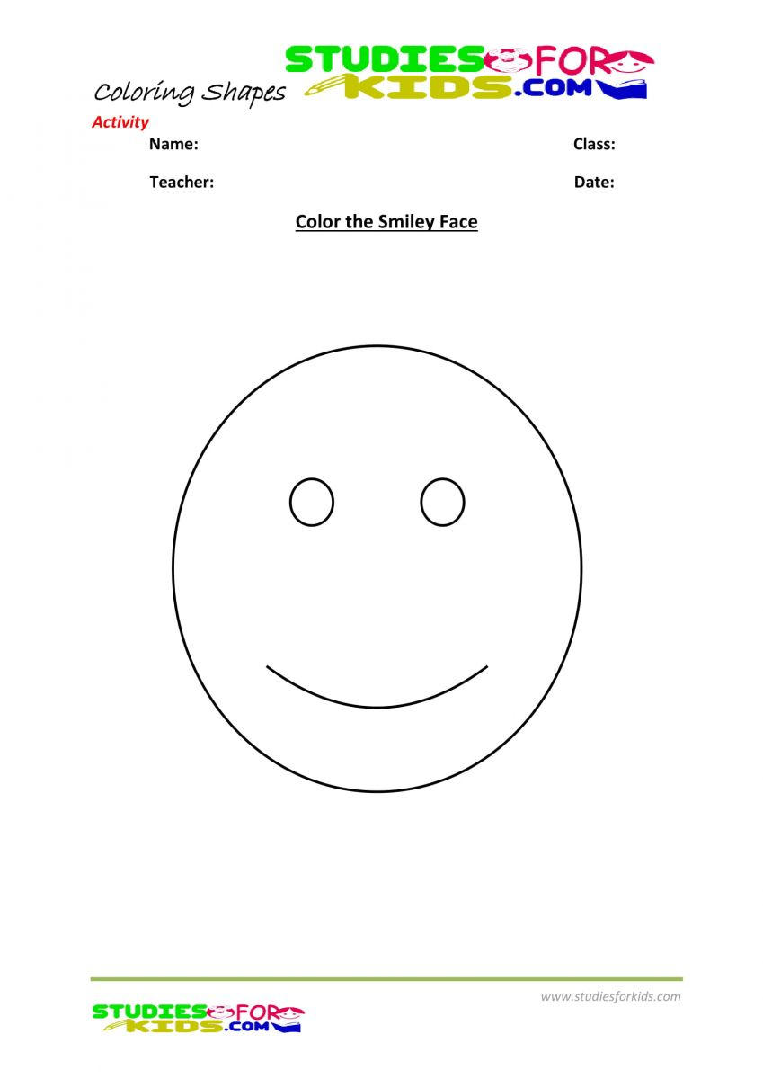 Coloring pages pdf shapes- color smiley face