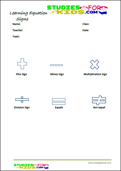Free printable Equation signs activities for kids learning Pdf ...
