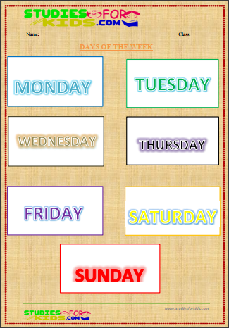 days of the week flashcards for kindergarten in English