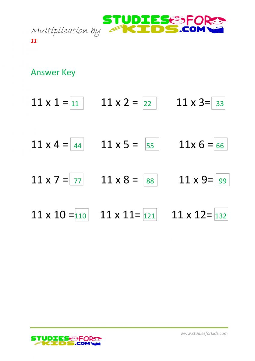 Math worksheets for grade 6 multiplication by 11 answer keys pdf