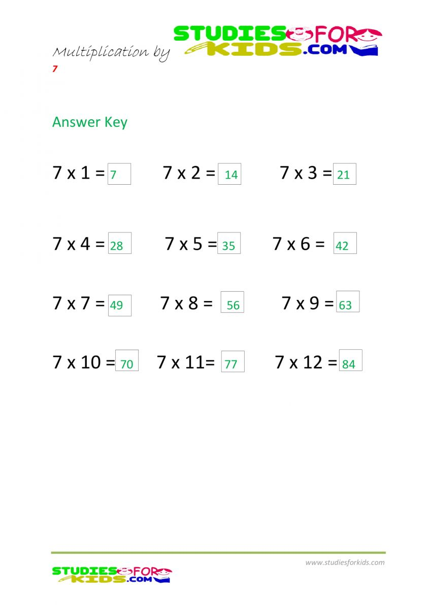 multiplication by 7 answer key