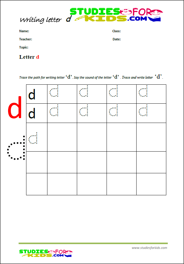 Printable letter  d writing worksheets