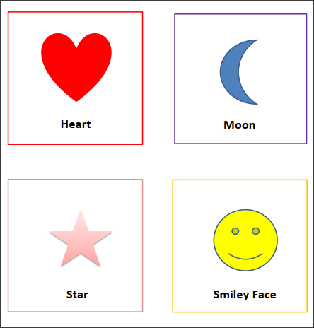 Printable SHAPES FLASH CARDS with Colors- Heart, Moon, Star, Smiley Face