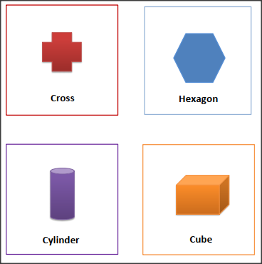 SHAPES FLASH CARDS Cross, Hexagon, Cylinder, Cube printables