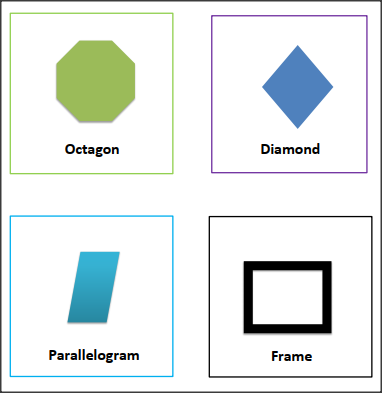 SHAPES FLASH CARDS -Octagon, Diamond, Parallelogram,Frame for preschool