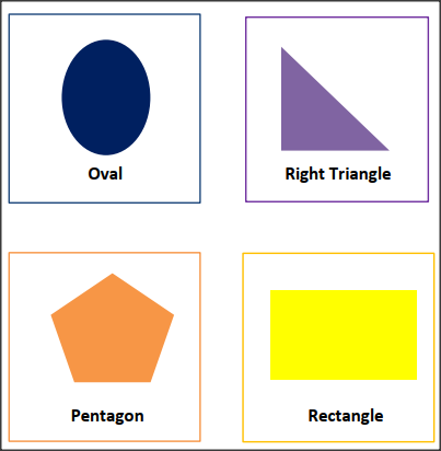 Free Shapes flash cards with colors,oval,right-triangle,pentagon,rectangle