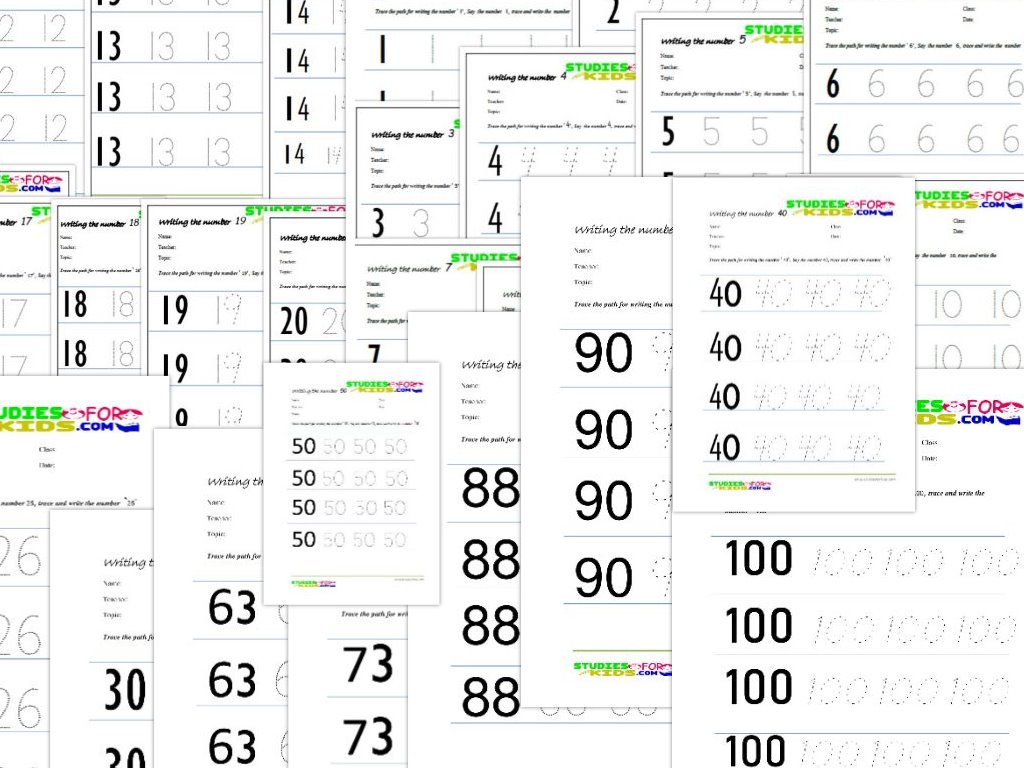 Trace Numbers workskeet 1-100 pdf
