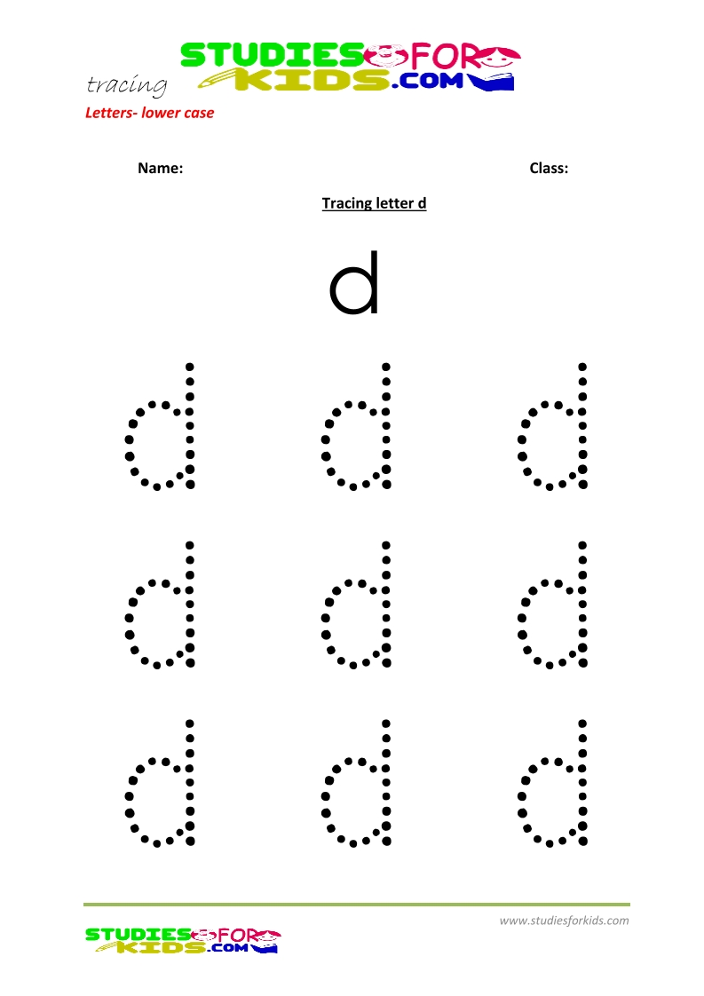 Tracing letters worksheets free Letter - small letters d .pdf