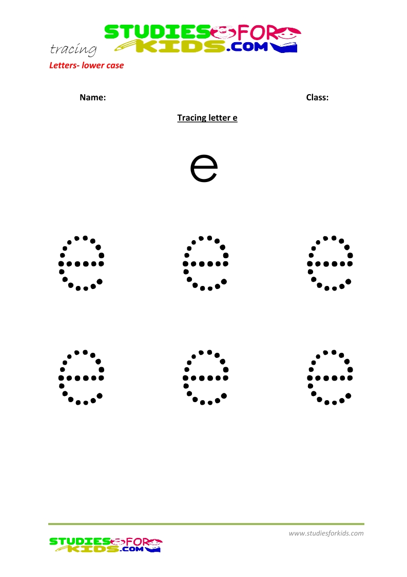 Tracing letters worksheets free Letter - small letters e .pdf