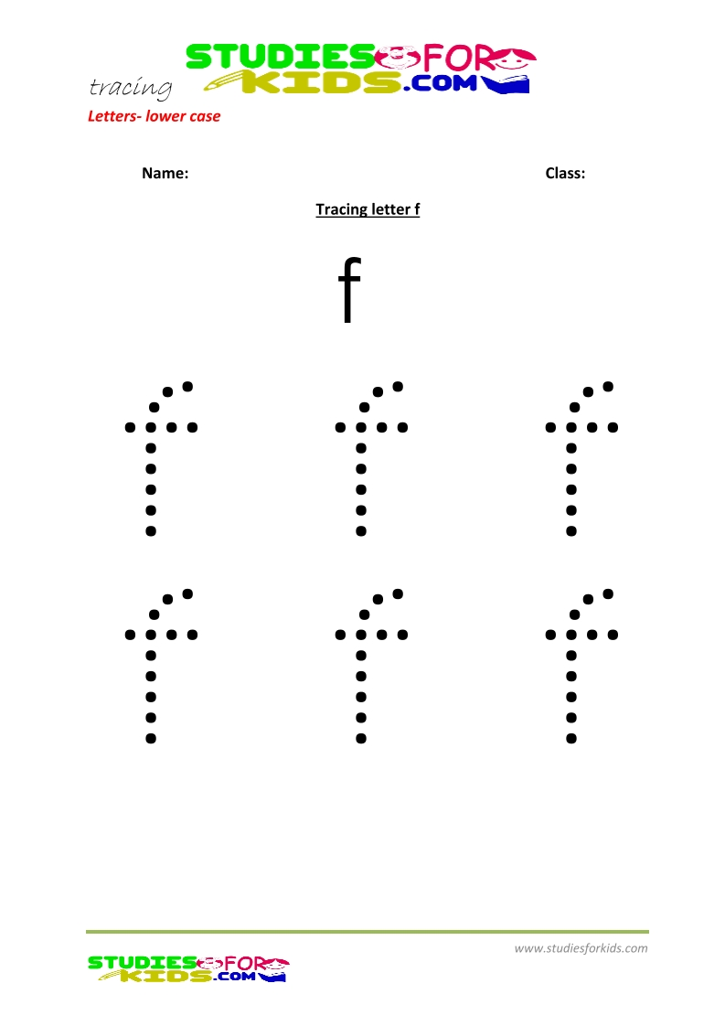 Tracing letters worksheets free Letter - small letters f .pdf