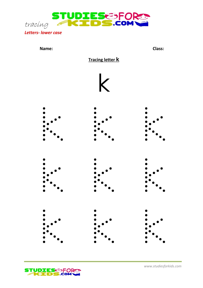 Tracing letters worksheets free Letter - small letters k .pdf