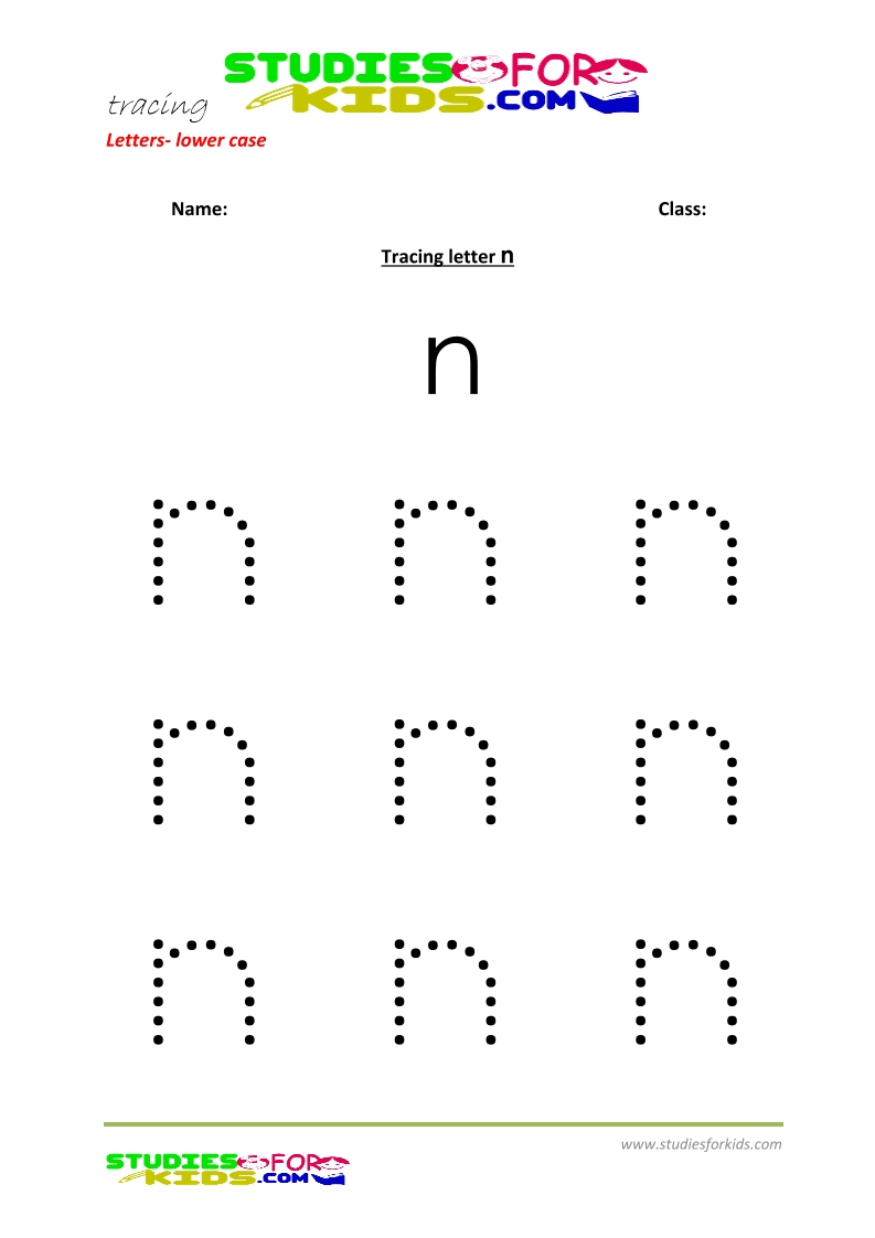 Tracing letters worksheets free Letter - small letters n .pdf