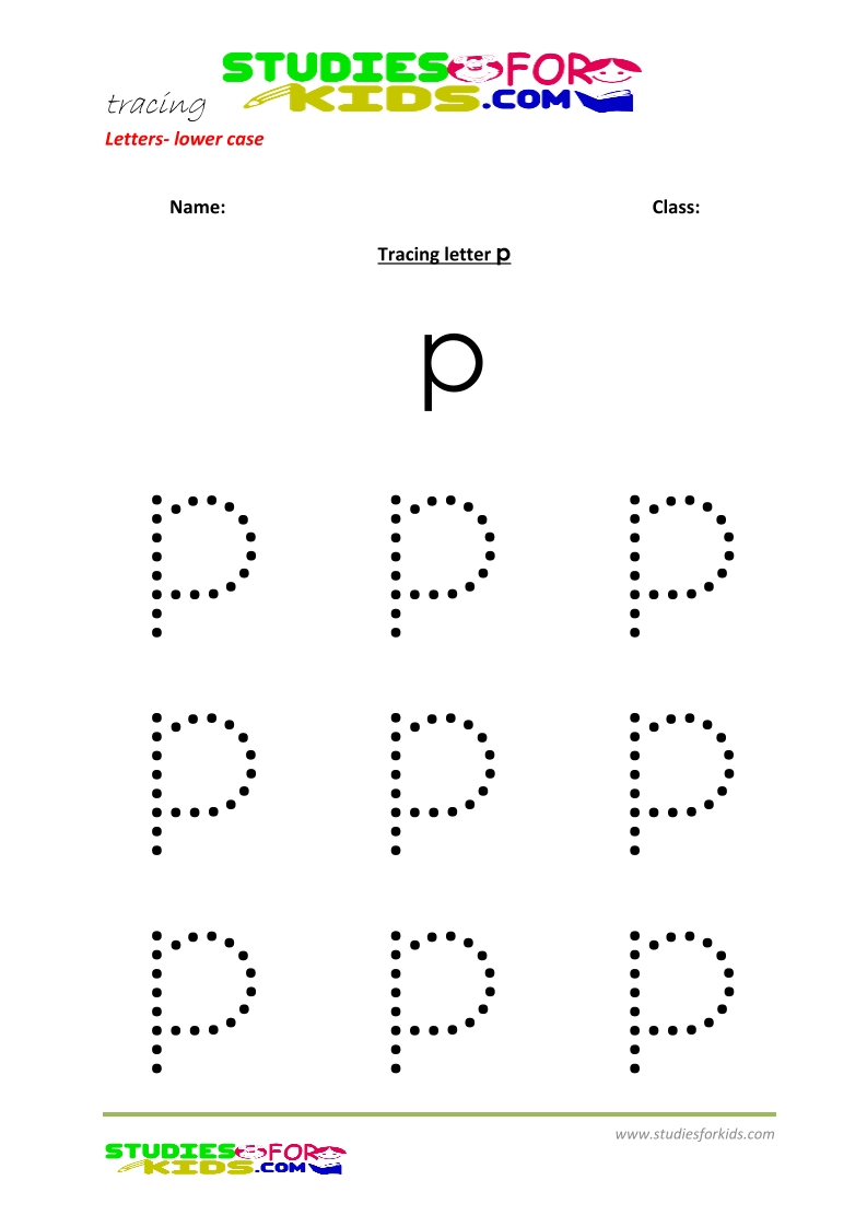 Tracing letters worksheets free Letter - small letters p .pdf