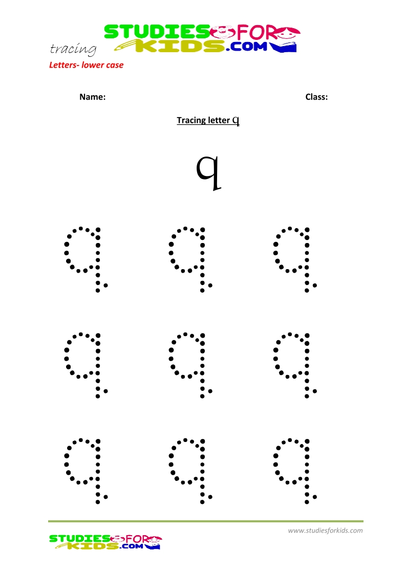 Tracing letters worksheets free Letter - small letters q .pdf