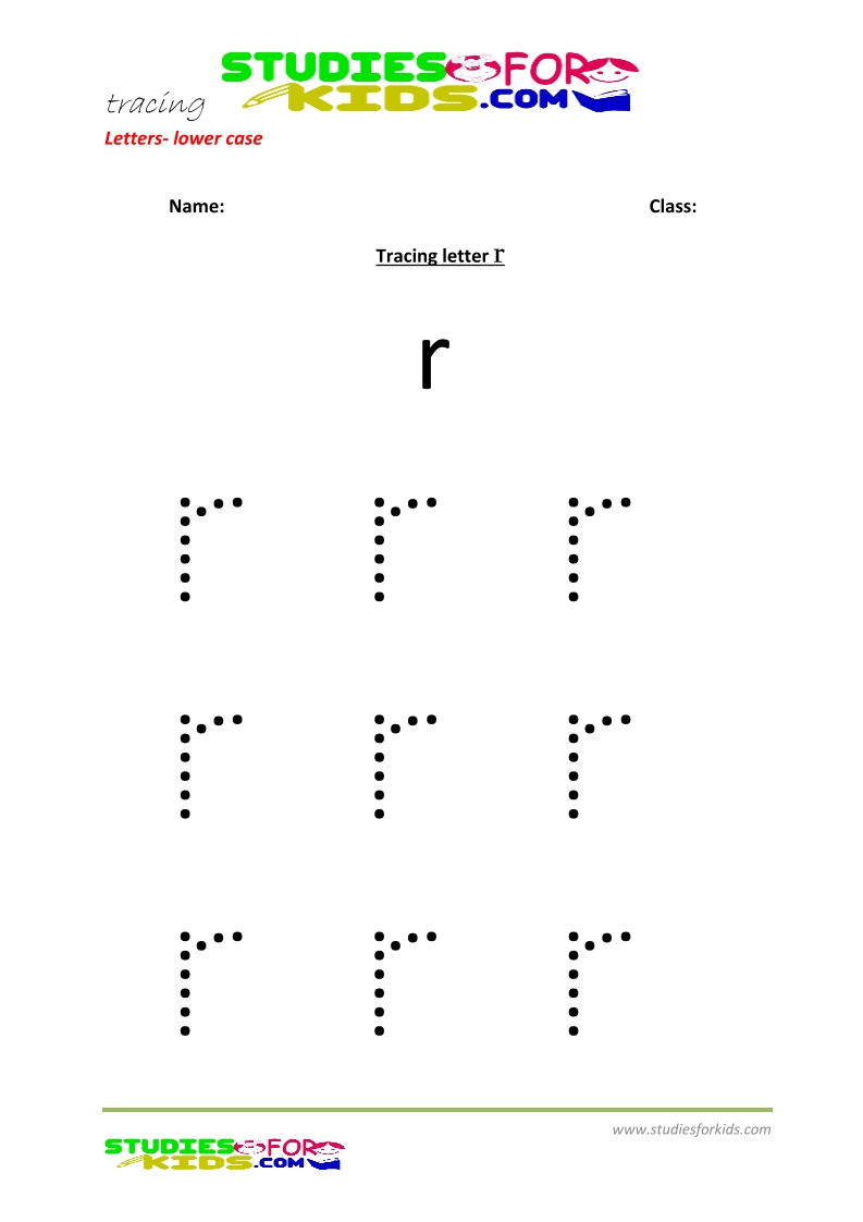 Tracing letters worksheets free Letter - small letters r .pdf