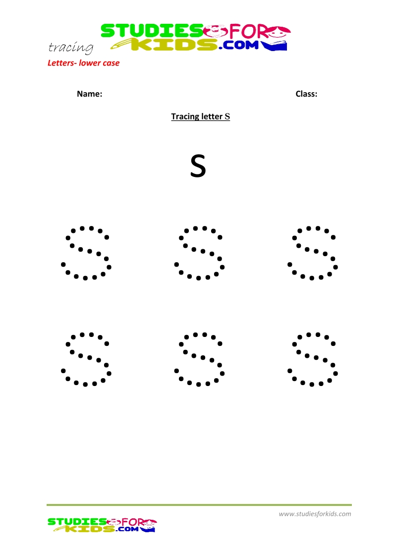 Tracing letters worksheets free Letter - small letters s .pdf