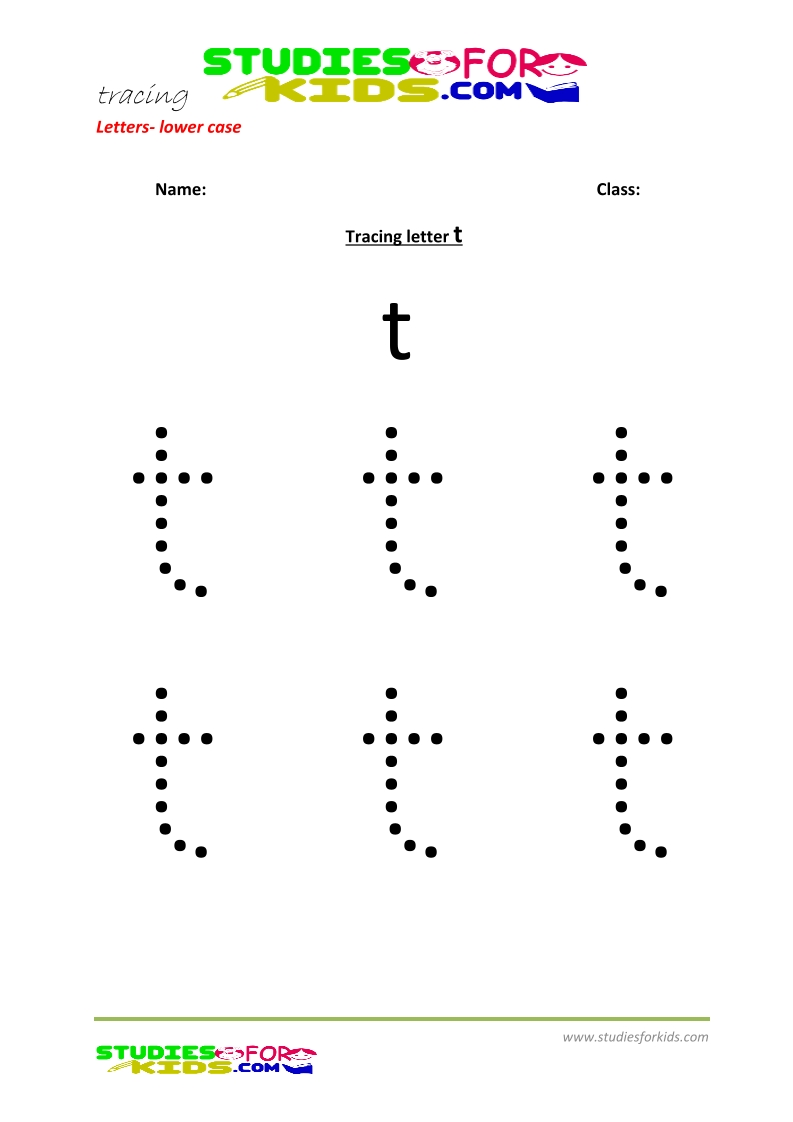 Tracing letters worksheets free Letter - small letters t .pdf