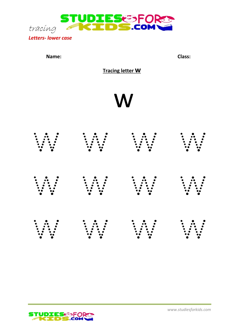 Tracing letters worksheets free Letter - small letters w .pdf