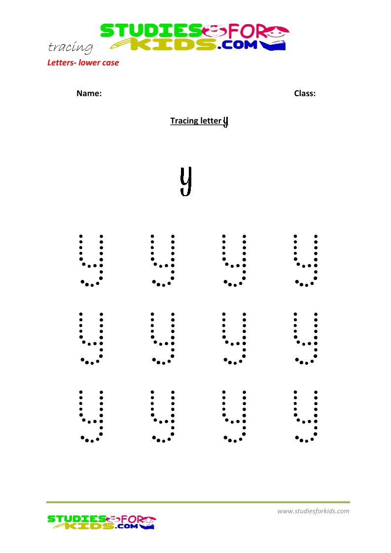 Tracing letters worksheets free Letter - small letters y .pdf