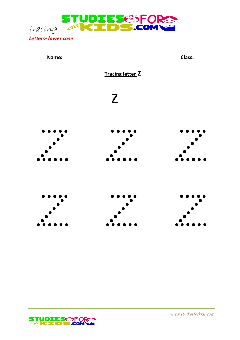 Tracing letters worksheets free Letter - small letters z .pdf