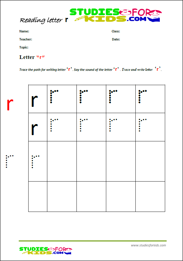 alphabet handwriting worksheets  letter R- PDF printables for kids