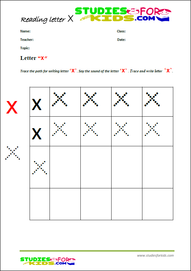 alphabet worksheets for kids-letter x