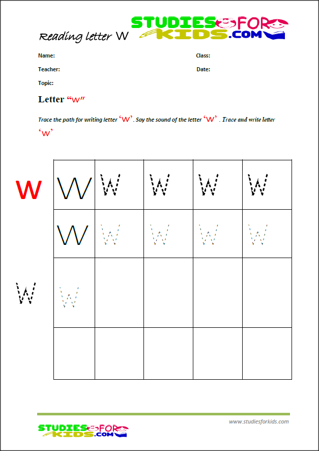 alphabet worksheets for preschoolers letter w-writting worksheets