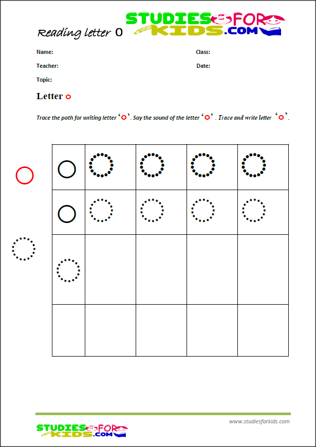 alphabet writing practice worksheet letter O