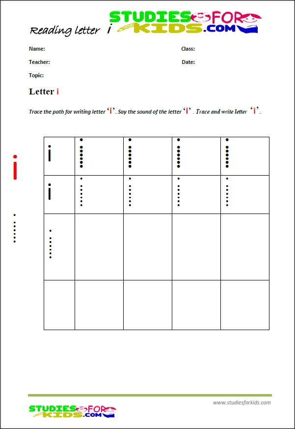 alphabet writing worksheets letter I
