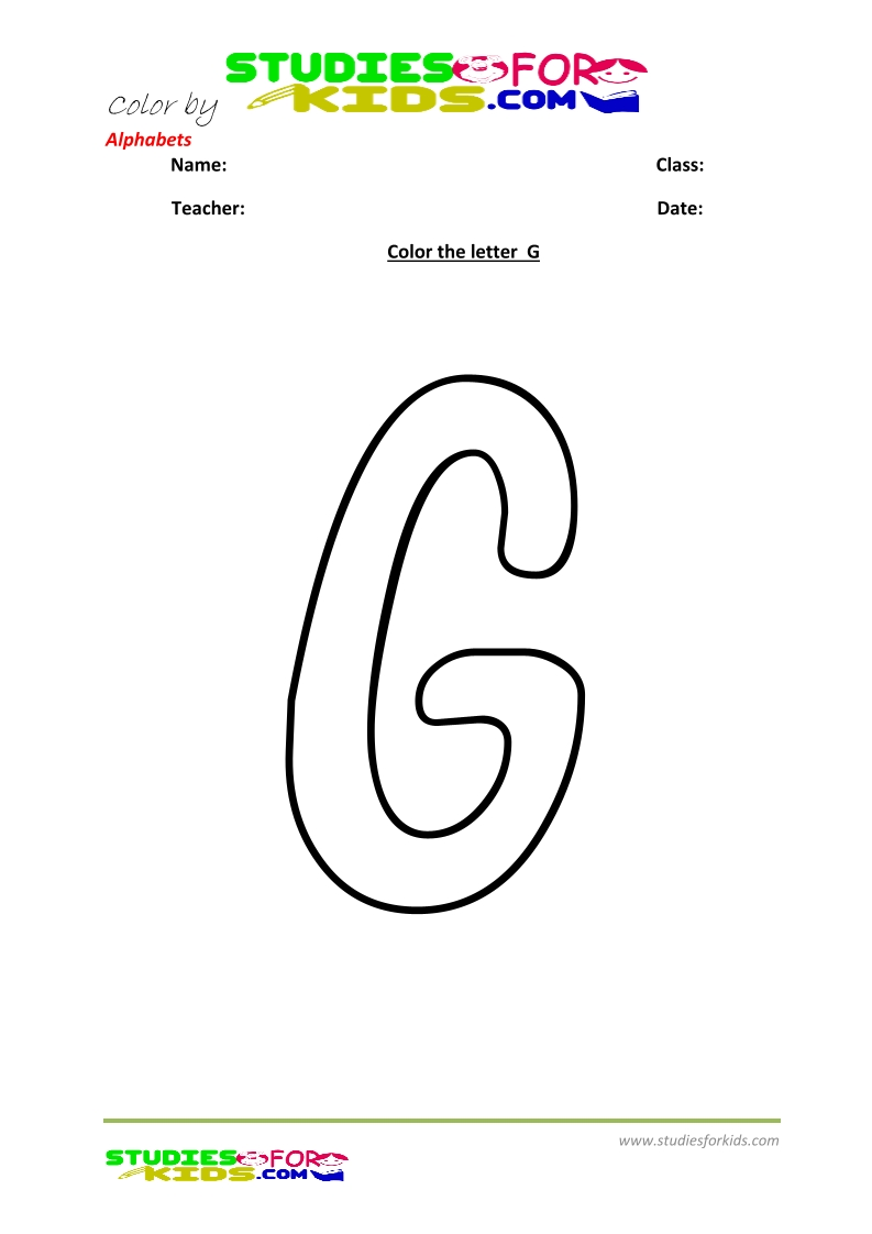 alphabet coloring pages by letters- letter G