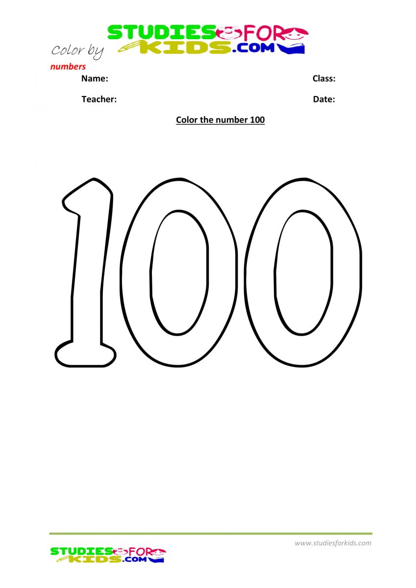 color by numbers Preschool printable worksheet  100