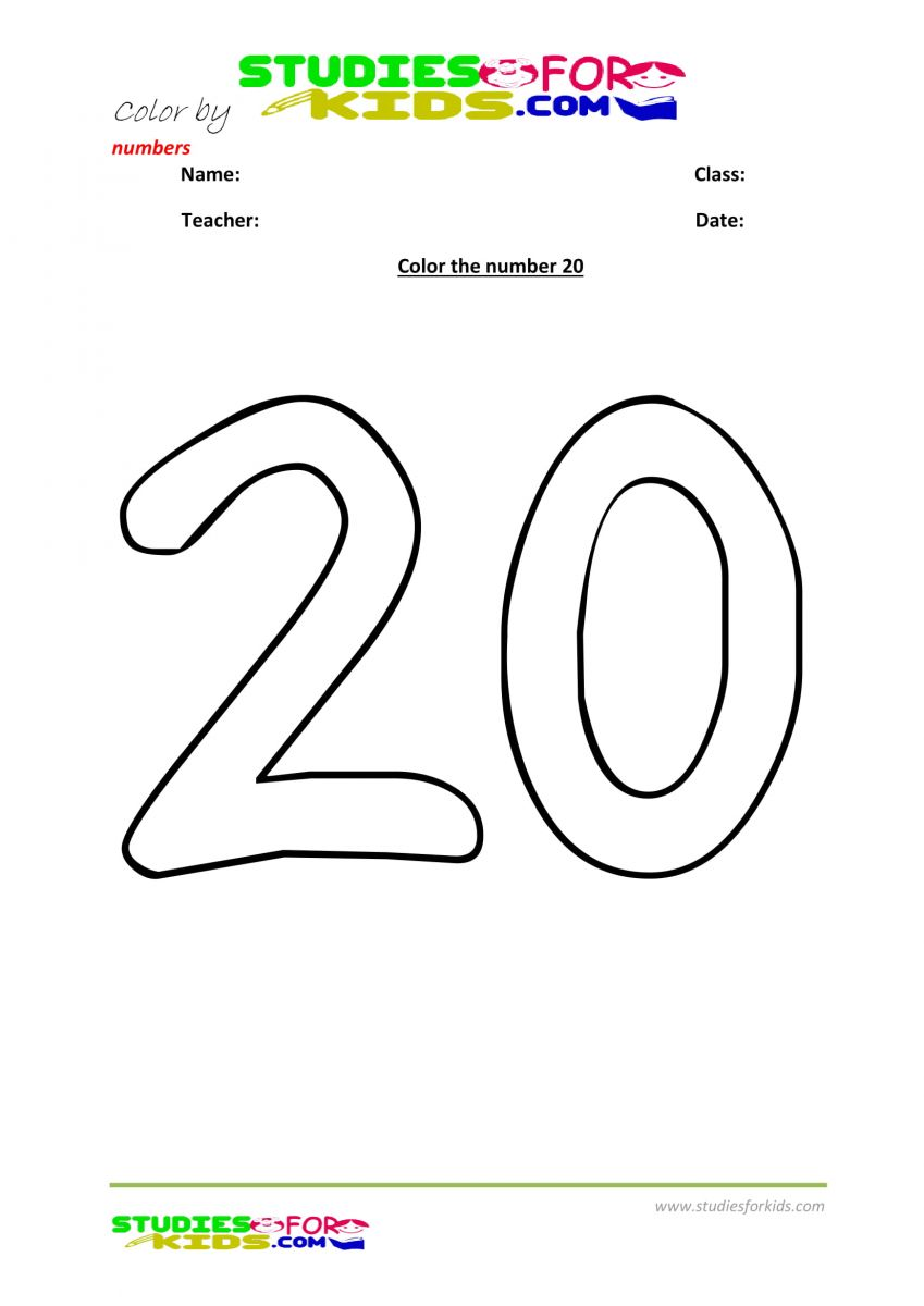 colouring by number , number 20