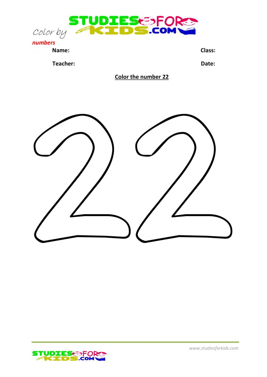 number coloring for number 22