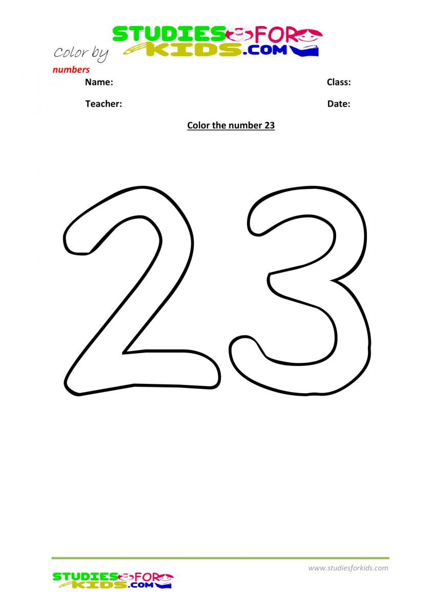color the number 23