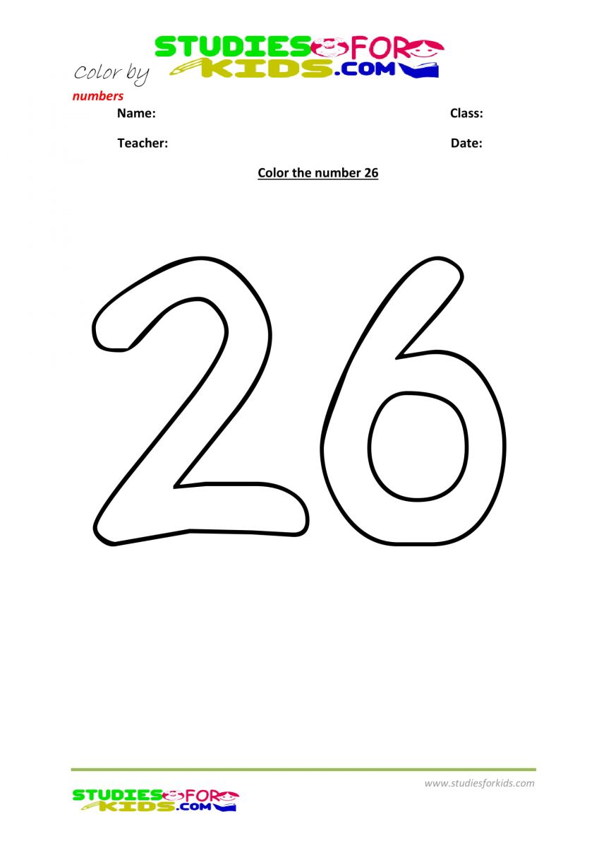 worksheet coloring the number 26
