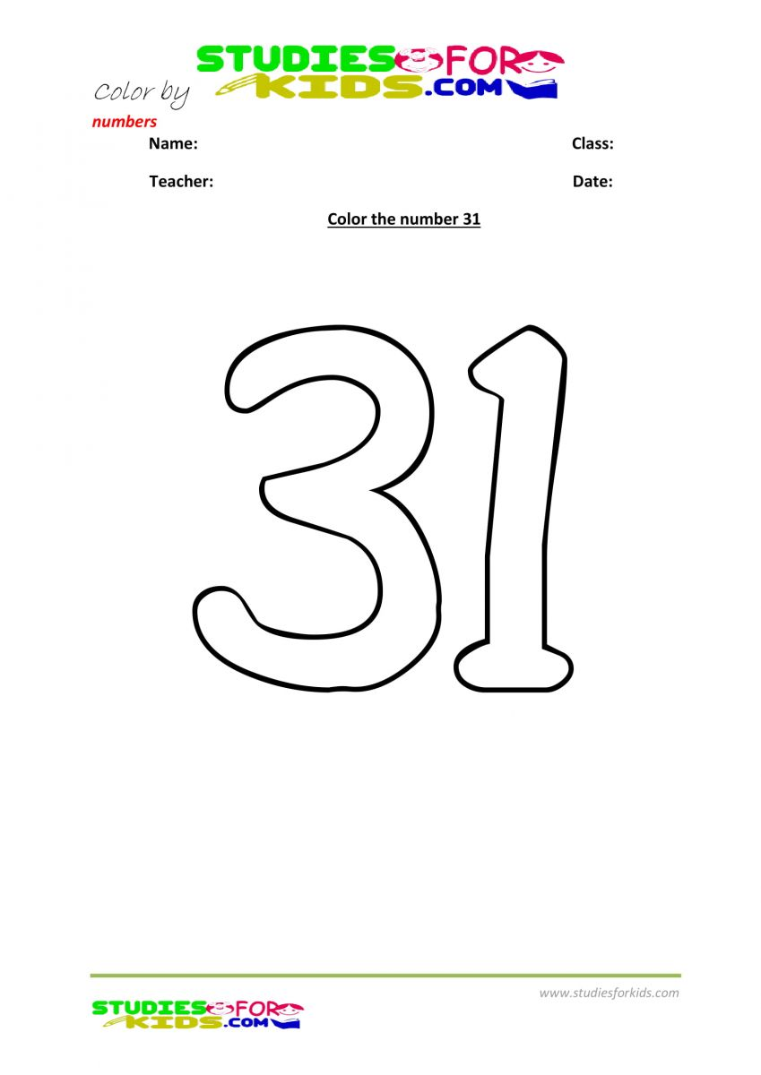 printables color by number 31