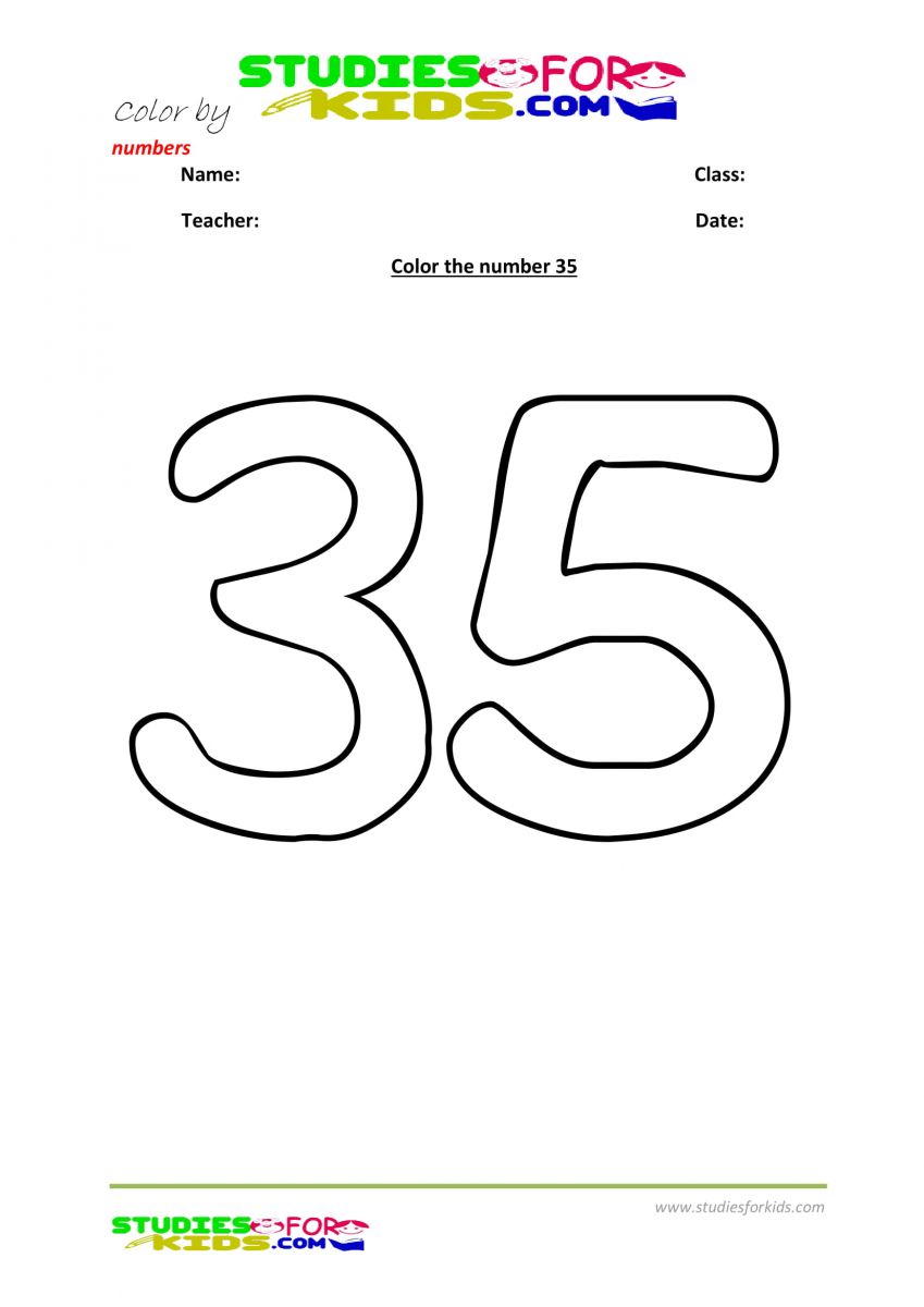 worksheet color by number -35