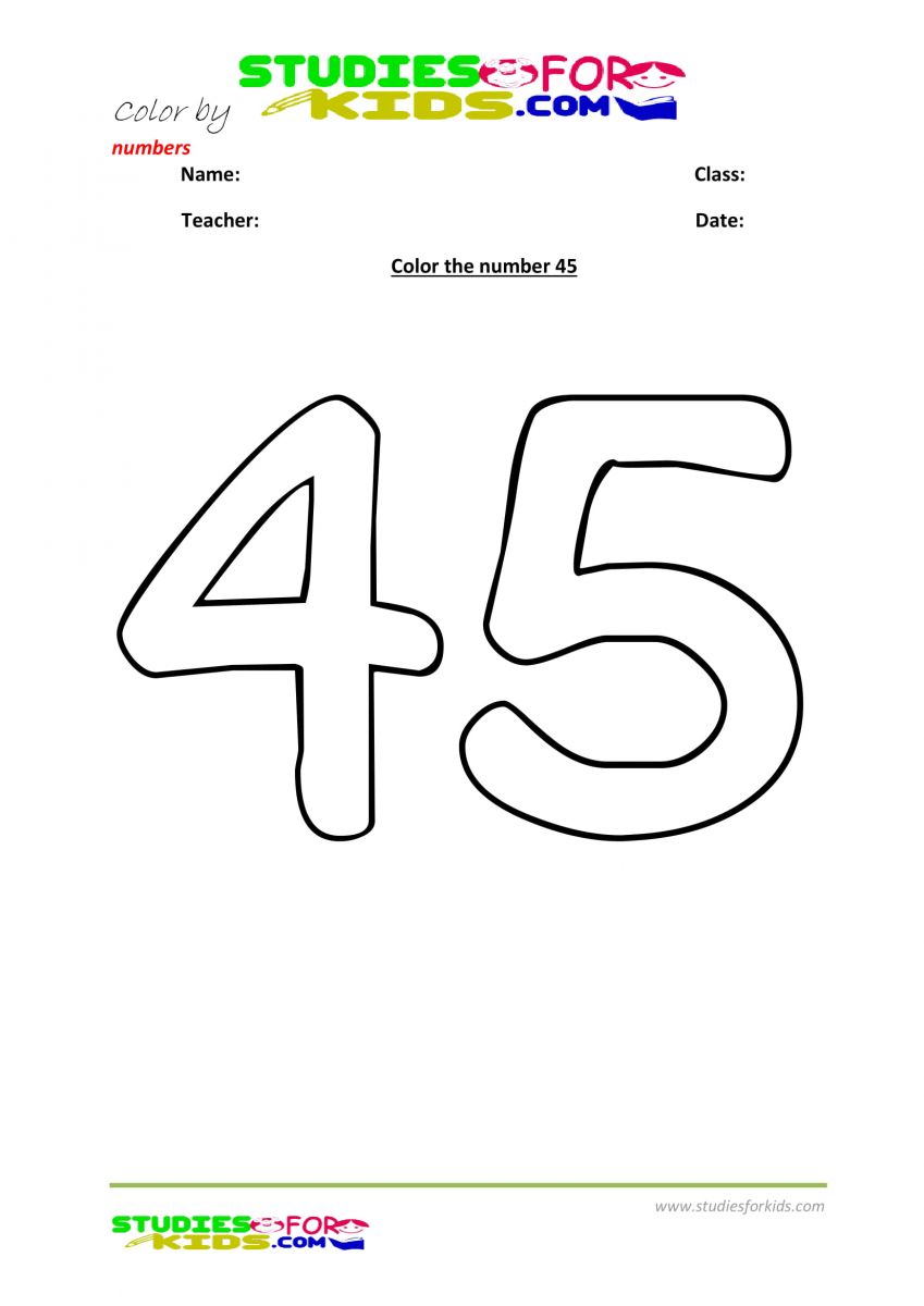 printable preschool number to be colored -45