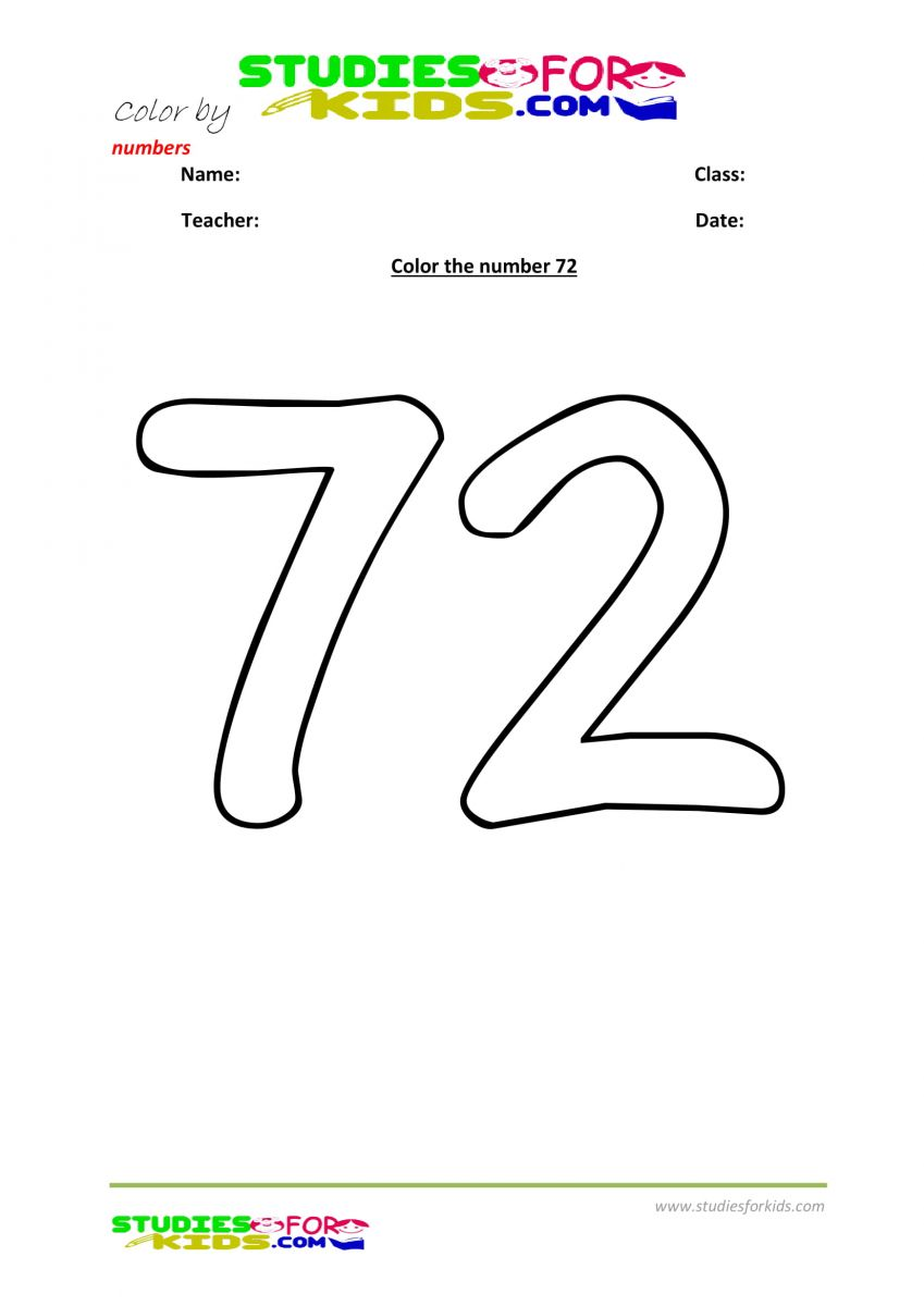 printable worksheet color by numbers 72
