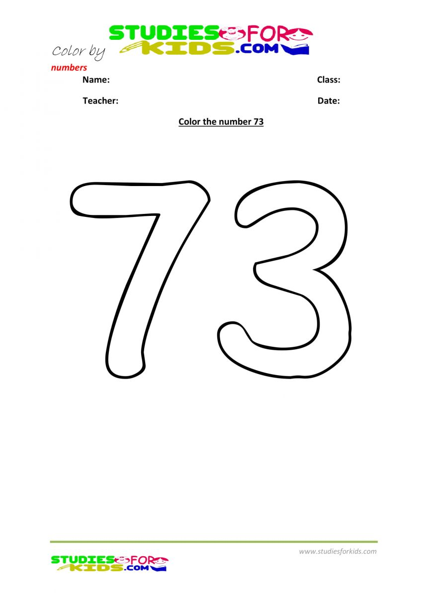 printable worksheet color by numbers 73
