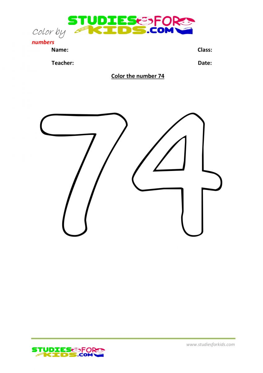 printable worksheet color by numbers 74
