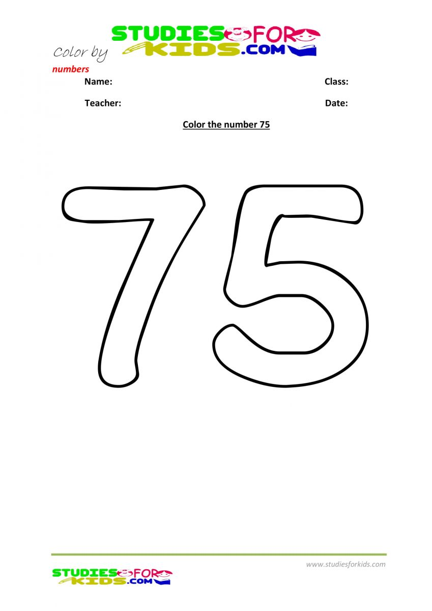 printable worksheet color by numbers 75